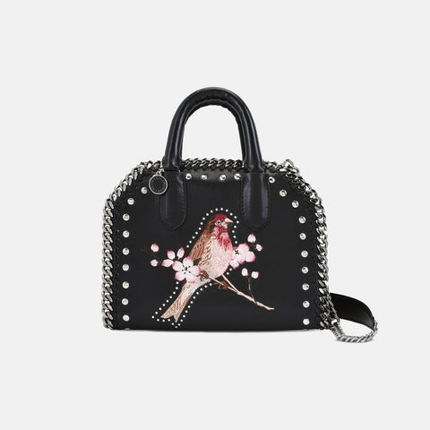 aa5994ac7e Stella McCartney Black Falabella Box Bird Mini Bag