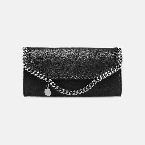 Stella McCartney Black Falabella Shaggy Deer Continental Wallet-Womens Wallet-Stella McCartney-Unicorn Goods
