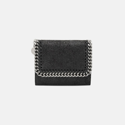 Stella McCartney Black Falabella Small Flap Wallet-Womens Wallet-Stella McCartney-Unicorn Goods