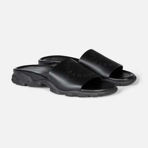 Stella McCartney Black Logo Slides-Womens Sandals-Stella McCartney-Unicorn Goods