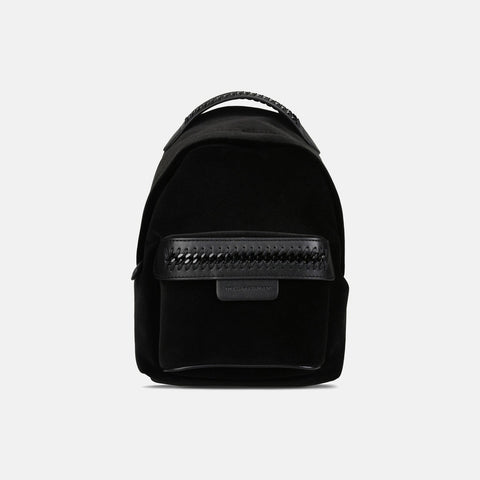 Stella McCartney Black Velvet Falabella GO Mini Backpack-Womens Backpack-Stella McCartney-Unicorn Goods