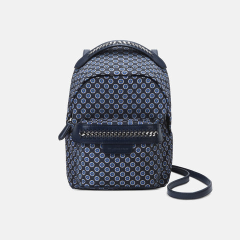 Stella McCartney Blue Tie Print Falabella GO Mini Backpack-Womens Backpack-Stella McCartney-Unicorn Goods
