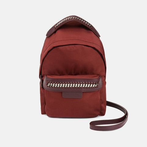 Stella McCartney Burgundy Falabella GO Mini Backpack-Womens Backpack-Stella McCartney-Unicorn Goods