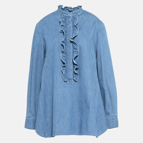 Stella McCartney Denim Ruffled Shirt-Womens Shirt-Stella McCartney-Unicorn Goods