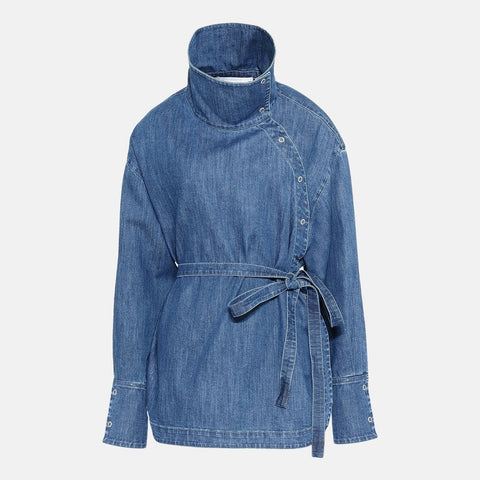 Stella McCartney Denim Wrap Shirt-Womens Shirt-Stella McCartney-Unicorn Goods