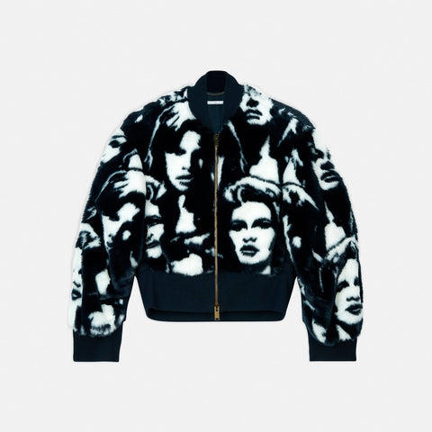 Stella McCartney Fur Free Fur Faces Print Bomber Jacket-Womens Jacket-Stella McCartney-Unicorn Goods