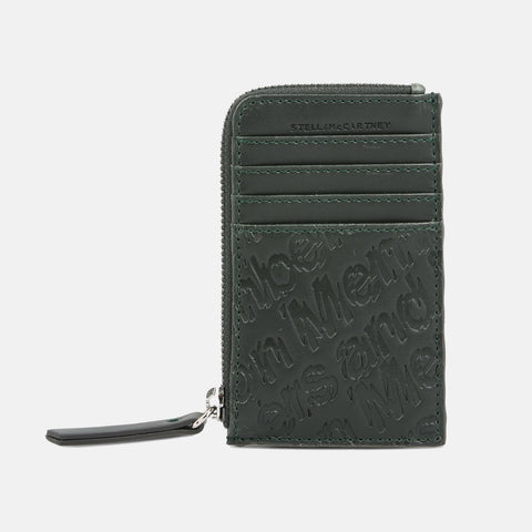Stella McCartney Green Eco Alter Nappa Embossed Card And Coin Case-Womens Wallet-Stella McCartney-Unicorn Goods