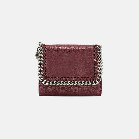 Stella McCartney Indian Red Falabella Shiny Dotted Small Flap Wallet-Womens Wallet-Stella McCartney-Unicorn Goods