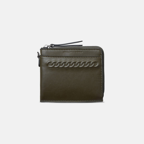 Stella McCartney Khaki Eco Alter Nappa Falabella Card Case-Womens Wallet-Stella McCartney-Unicorn Goods