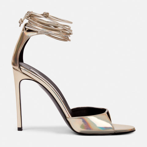 Stella McCartney Lace Up Heeled Sandals in Gold-Womens Heels-Stella McCartney-Unicorn Goods
