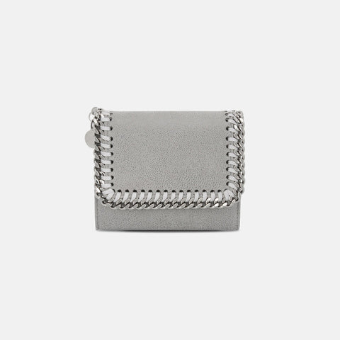 Stella McCartney Light Grey Falabella Small Flap Wallet-Womens Wallet-Stella McCartney-Unicorn Goods