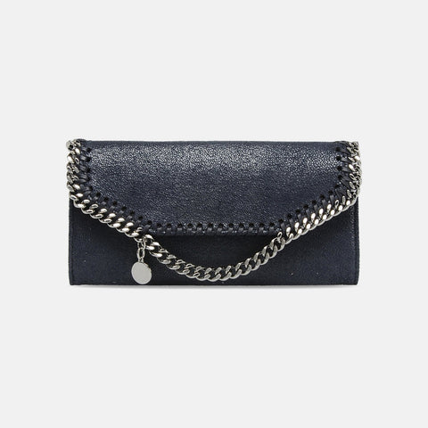 Stella McCartney Navy Falabella Shaggy Deer Continental Wallet-Womens Wallet-Stella McCartney-Unicorn Goods