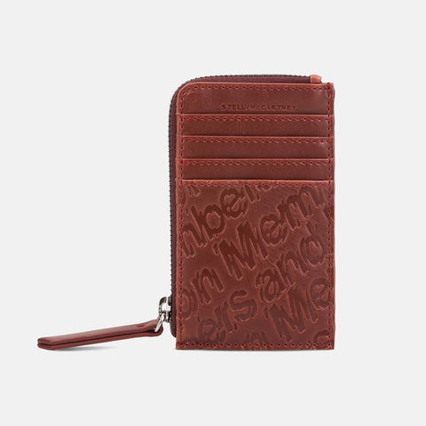 Stella McCartney Red Eco Alter Nappa Embossed Card And Coin Case-Womens Wallet-Stella McCartney-Unicorn Goods