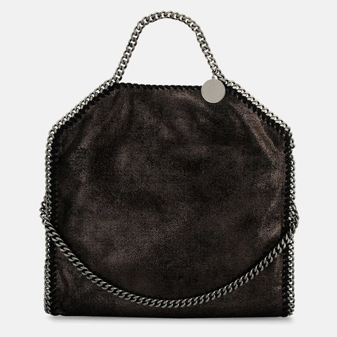 90147cb418 Stella McCartney Ruthenium Falabella Shiny Dotted Chamois Fold Over Tote