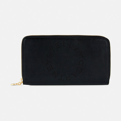 Stella McCartney Stella Logo Zip Around Wallet in Black-Womens Wallet-Stella McCartney-Unicorn Goods