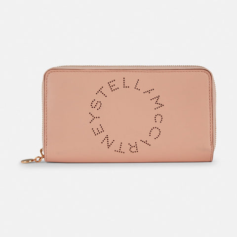 Stella McCartney Stella Logo Zip Around Wallet in Pink-Womens Wallet-Stella McCartney-Unicorn Goods