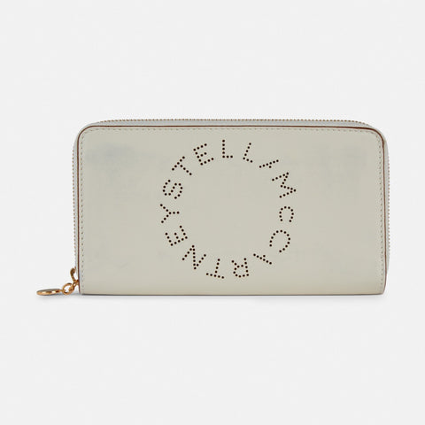 Stella McCartney Stella Logo Zip Around Wallet in White-Womens Wallet-Stella McCartney-Unicorn Goods