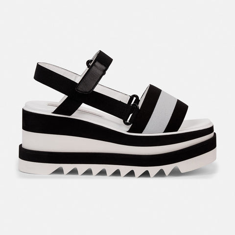 Stella McCartney Striped Platform Slides in Black-Womens Sandals-Stella McCartney-Unicorn Goods
