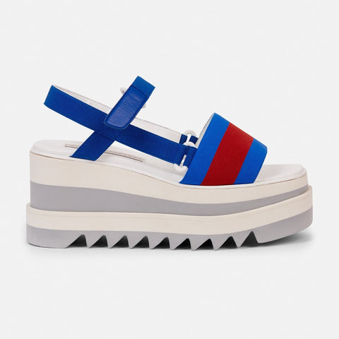 Stella McCartney Striped Platform Slides in Blue-Womens Sandals-Stella McCartney-Unicorn Goods