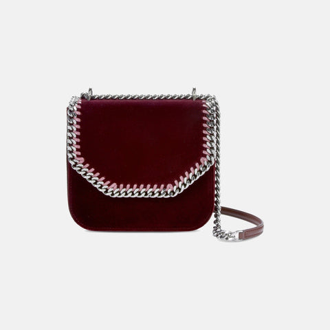 29a1c16359 Stella McCartney Velvet Burgundy Falabella Box Medium Shoulder Bag