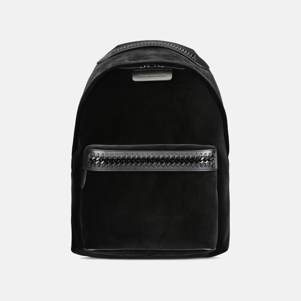 Stella McCartney Velvet Falabella GO Backpack in Black-Womens Backpack-Stella McCartney-Unicorn Goods