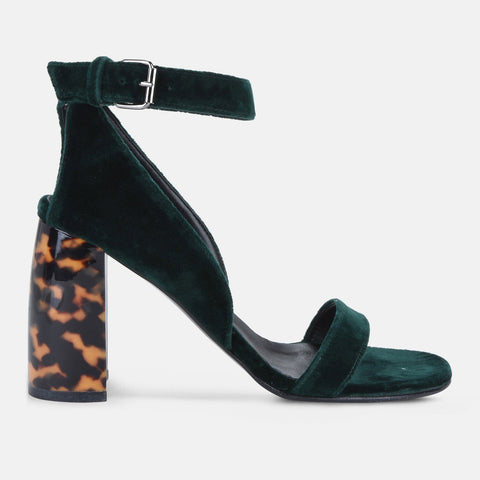 0ba65173d579 Stella McCartney Velvet Green Heeled Sandals