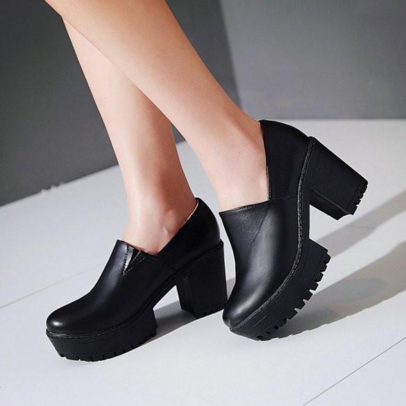 Summerwhisper Casual Round Toe Platform Pumps Chunky High Heel Shoes-Womens Heels-Amazon-Unicorn Goods