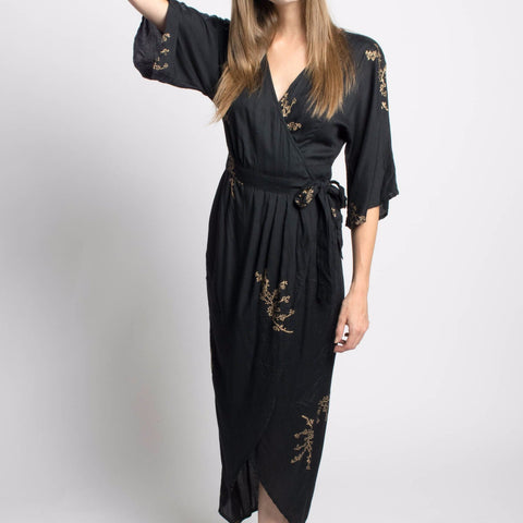 Symbology Cherry Blossom Kimono Maxi Wrap-Womens Long Dress-Bead and Reel-Unicorn Goods