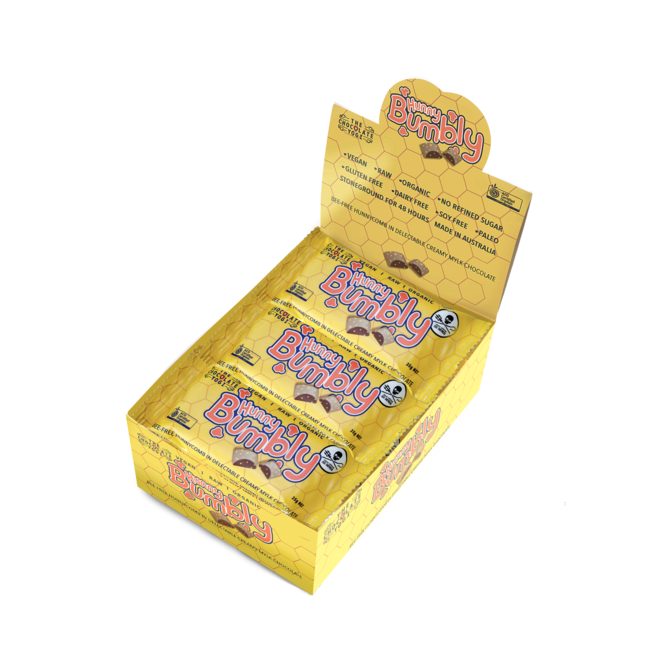 The Chocolate Yogi Hunny Bumbly Mylk Chocolate Hunnycomb Box of 15 Bars-Chocolate-The Chocolate Yogi-Unicorn Goods