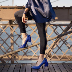 The Mulan by VEERAH in Blue Apple Leather-Womens Pumps-Veerah-Unicorn Goods