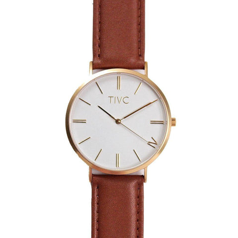 TIVC Kaizen Watch with Gold Face & Tan Stitched Band-Unisex Watch-TIVC-Unicorn Goods