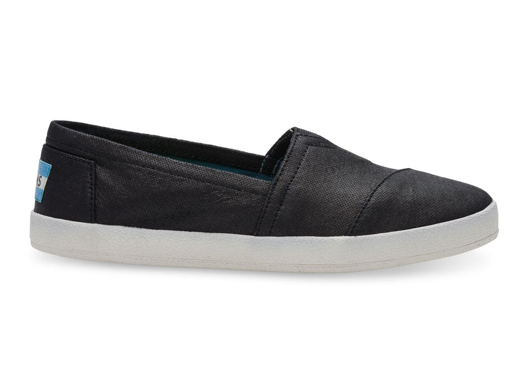 f739d7353df TOMS Black Coated Canvas Women s Avalon Slip-Ons-Womens Slip-Ons-Toms ...