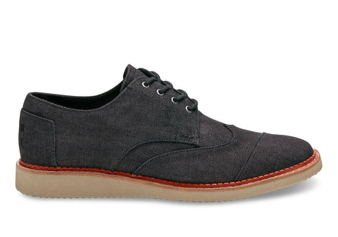 TOMS Black Denim Men's Brogues-Mens Dress Shoes-Toms-Unicorn Goods