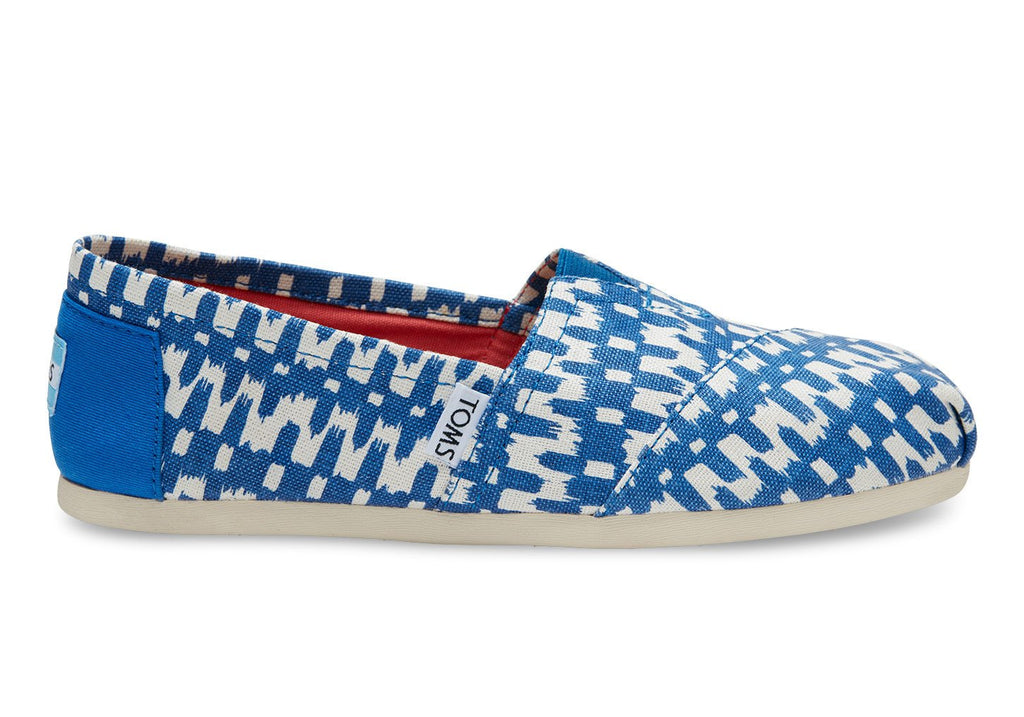 TOMS Women's Classics in Turkish Sea Ikat Print-Womens Slip-Ons-Toms-Unicorn Goods