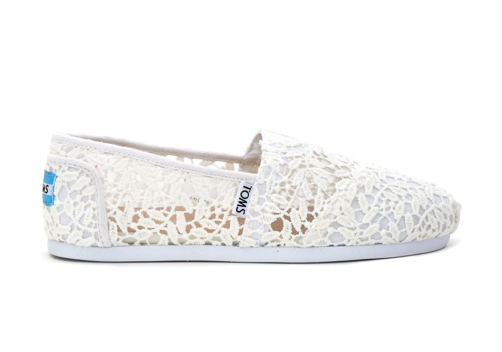 TOMS Women's Classics in White Lace Leaves-Womens Slip-Ons-Toms-Unicorn Goods