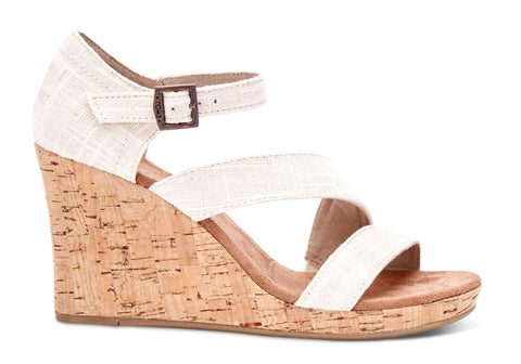 TOMS Women's Cork Clarissa Wedges in White-Womens Wedges-Toms-Unicorn Goods