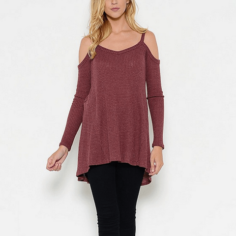 Tristin Cold Shoulder Thermal Waffle Top in Burgandy-Womens Shirt-Tristin-Unicorn Goods
