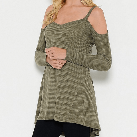 Tristin Cold Shoulder Thermal Waffle Top in Olive-Womens Shirt-Tristin-Unicorn Goods