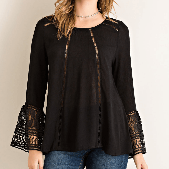 Tristin Crochet Sleeve Top-Womens Shirt-Tristin-Unicorn Goods