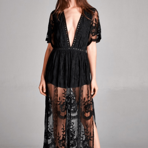 Tristin Deep V Crochet Lace Maxi Dress-Womens Long Dress-Tristin-Unicorn Goods