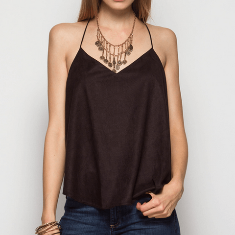 Tristin Faux Suede Strapy Cami Top-Womens Tank Top-Tristin-Unicorn Goods