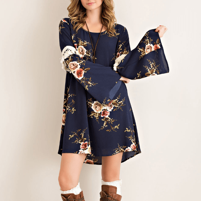 Tristin Floral Peasant Tassel Dress-Womens Short Dress-Tristin-Unicorn Goods