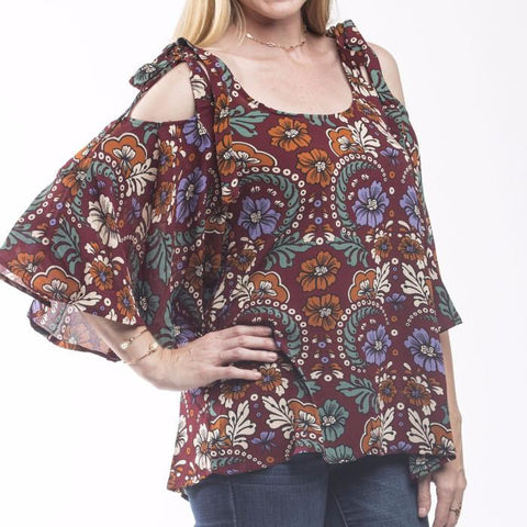 Tristin Flower Child Cold Shoulder Blouse-Womens Shirt-Tristin-Unicorn Goods
