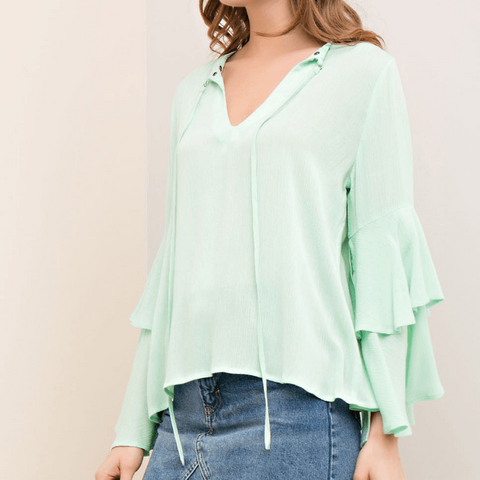 Tristin Fresh Like Mint Tie Bell Sleeve Top-Womens Shirt-Tristin-Unicorn Goods