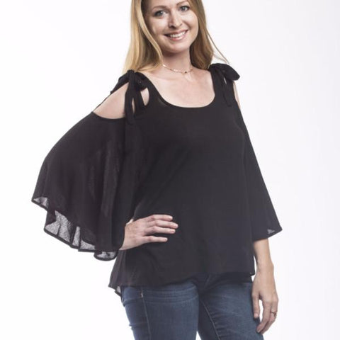 Tristin Hayden Cold Shoulder Bell Sleeve Top-Womens Shirt-Tristin-Unicorn Goods