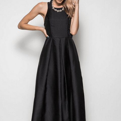 Tristin High Neck Open Back Maxi Dress Gown in Black-Womens Long Dress-Tristin-Unicorn Goods