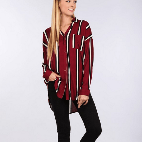 Tristin Jenna Oversized Button Front Stripe Tunic Top-Womens Shirt-Tristin-Unicorn Goods