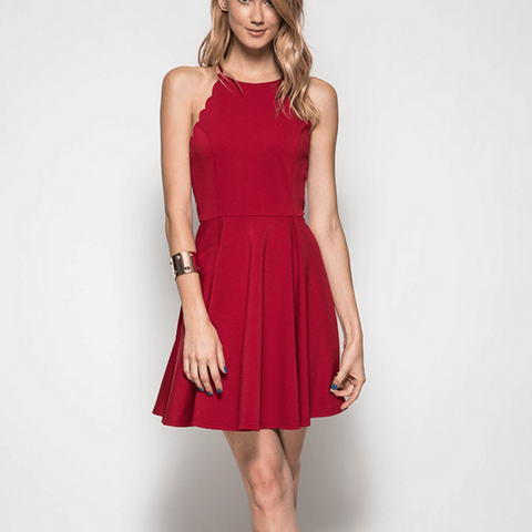 Tristin Scallop Fit n Flare Party Dress-Womens Short Dress-Tristin-Unicorn Goods