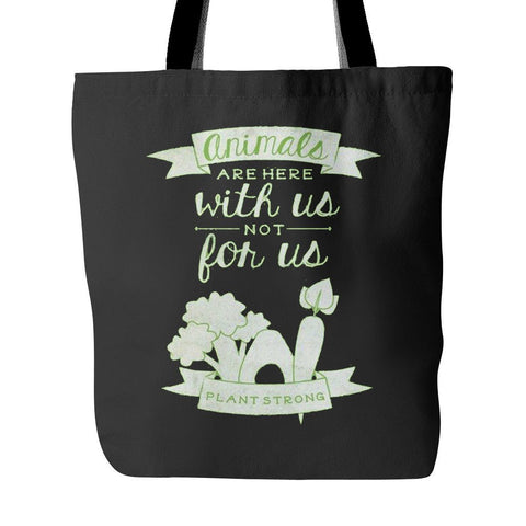 Vegan Love Animals Are With Us Tote Bag (3 colors)-Unisex Tote Bag-Vegan Love-Unicorn Goods