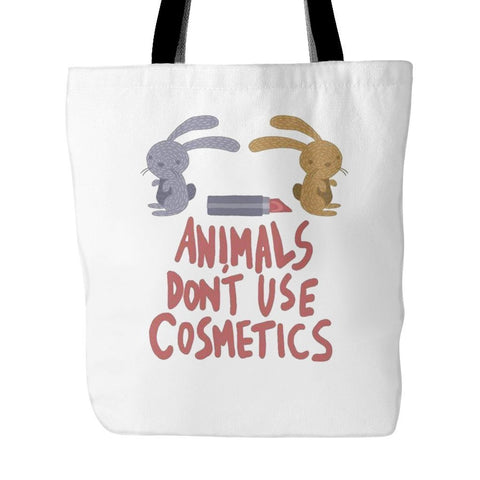 Vegan Love Animals Don't Use Cosmetics Tote Bag (2 colors)-Unisex Tote Bag-Vegan Love-Unicorn Goods